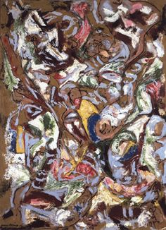 "Jackson Pollock - Four Opposites 1953 Oil and aluminum paints and Duco on canvas - 72-1/4"" X 51-1/4"""