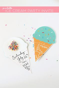 Ice cream party invitation free printable parties Pinterest