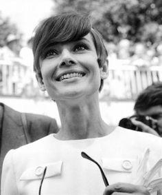 Audrey Hepburn at the Longchamp horse race in Paris, France. June 20, 1966.