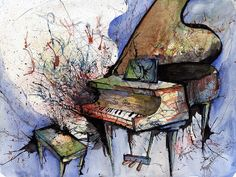 Watercolor piano Paintings   gallery of inspirational watercolor paintings from artists all over ...