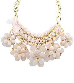 Collar dorado cadena flor piedra-Sheinside