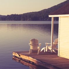 Adirondack chairs at the lake. Porches, Relax, Sweet Home, Lake Life, The Great Outdoors, Architecture, Serenity, Outdoor Living, Places To Go