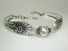 Silver Spoon Bracelet White Pearls Silverware Jewelry Jubilee 1953