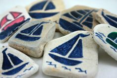 Hand Painted Sailboat Seaglass Pottery Ceramic by SarahSeaGlass