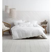Deco by Linen House Cameron White Queen Quilt Cover Set