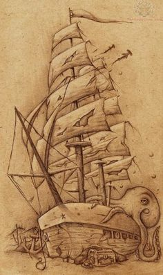 Ship with octopus