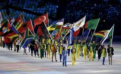Flag bearers enter the stadium during the Closing Ceremony on Day 16 of the Rio 2016 Olympic Games at Maracana Stadium. World Figure Skating Championships, Tennis Championships, Rio Olympics 2016, Summer Olympics, Rio Olympic Games, World Athletics, Harness Racing, Team Gb, Home Sport