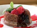 Molten Chocolate Cakes with Raspberry Sauce