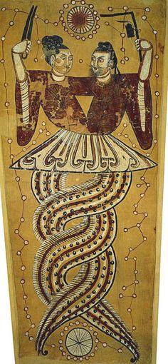 Anonymous   NÜWA and Fuxi represented as half-snake, half-human creatures