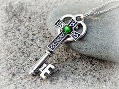 Emerald Celtic Knot Cross Key Necklace / Green by ArtbyStarlaMoore