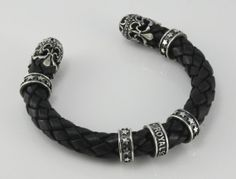 ROYAL 925 Biker Jewelry. Genuine Leather Cuff. Sterling Silver. Motorcycle Jewelry. New. Made in USA. Original and Unique Jewelry.