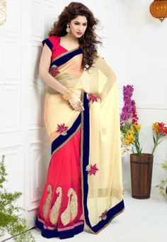 Beige and Fuchsia Bamberg Faux Georgette and #NetSaree @ $131.00
