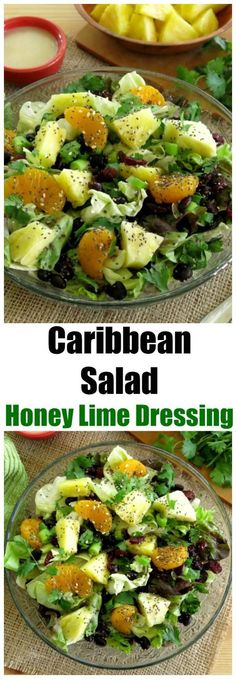 Easy and Healthy Caribbean Saladdrizzled with Honey Lime Dressing made famous by Disney's 'Ohana restaurant. Pineapple, mandarin oranges, dried cranberries, cilantro, green onions and more will tantalize your taste buds. Gluten-free