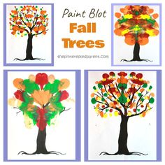 These paint blot fall trees are a bright and colorful project that is quick and easy, is great for all ages and only requires a few items. Autumn Art, Autumn Trees, Tree Trunk Drawing, Flower Makeup, Paint Drop, Chalkboard Print, Poinsettia Flower, Bare Tree, Subway Art