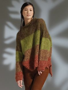 Knit this womens stocking stitch sweater from Rowan Knitting & Crochet Magazine 52, a design by Lisa Richardson using the luxurious yarn Kidsilk Haze (super kid mohair and silk). With a drop shoulder, funnel neck and a lower back hem, this knitting pattern is for the beginner knitter.