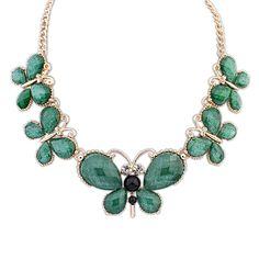 Women's Rhinestone Butterfly Shape Embellished Short Statement Necklace