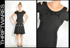 Vtg 50s Black White Polka Dot Cut Out Cold Shoulder Wiggle Lady Like Dress S | eBay