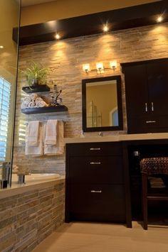 Expresso Cabinets & Stone Tile Bathroom