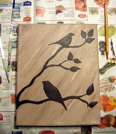 Tippytoe Crafts: YAH: Bird Art Simple painted canvas, outline birds and branches with permanent marker and fill in. Link to bird pictures included. Diy Canvas, Canvas Art, Painted Canvas, Canvas Ideas, Diy Painting, Painting & Drawing, Pop Art Bilder, Bird Silhouette, Silhouette Painting