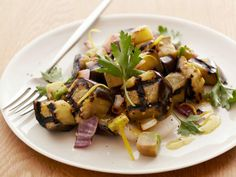 Grilled Eggplant Salad : Simple to make but complex in flavor, this salad combines sweetness from honey with tangy mustard, tart lemon and refreshing herbs.