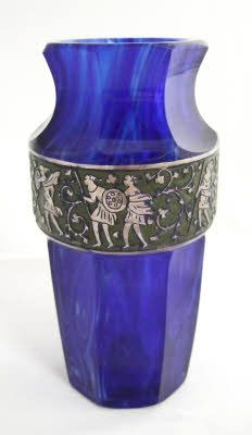"""Very Rare And Unusual Silver """"Oroplastic"""" And Cased Blue Moser Vase   c.1920"""