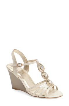 adrianna papell kristen embellished t strap wedge sandal women available at