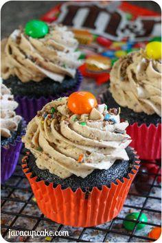 Peanut Butter M&M Chocolate Cupcakes by JavaCupcake.com