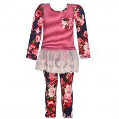 Big Girls Ivory Stripe Floral Print Off-Shoulder Top 2 Pc Legging Set 7-14