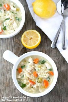 Lemon Chicken Orzo Soup Recipe on twopeasandtheirpod.com This comforting soup is perfect for a cold day!