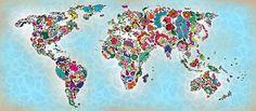 Echaledos.com: 46 DISEÑOS CREATIVOS DEL MAPA MUNDIALPinturas, bigotes, mariposas, video juegos y otras versiones creativas del mapa del mundo