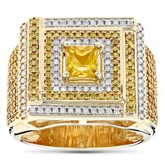 Unique White and Yellow Diamond Mens Ring 1.2ct 10K Gold