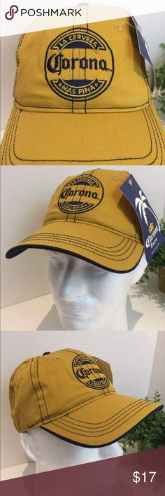 """Corona Hat Mens Cotton OS NWT La Cerveza Mas Fina Corona Mustard Colored Hat Adjustable One Size Fits All Nwt  This listing is for a NEW Corona mustard colored hat with embroidered Corona and the words, """"LA CERVEZA MAS FINA"""". Which means, """"The Finest Beer"""". Great color scheme. Never been worn. By H3 Sportswear.  Comes from a smoke free pet free environment. Will be shipped in a box. Corona Accessories Hats"""