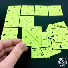 This simplifying radicals puzzle activity is a fun way for algebra or pre-algebra students to practice reducing radicals Math Lesson Plans, Math Lessons, Seventh Grade Math, Ninth Grade, Math Classroom Decorations, Classroom Ideas, Simplifying Radicals, Act Math, Math Enrichment