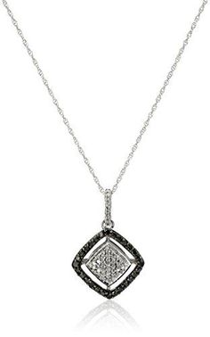 #blackdiamondgem 10k White Gold Black and White Diamond (1/7cttw) Square Pendant Necklace, 18″by Amazon Collection - See more at: http://blackdiamondgemstone.com/jewelry/necklaces/pendants/10k-white-gold-black-and-white-diamond-17cttw-square-pendant-necklace-18-com/#sthash.A1iRX8uW.dpuf
