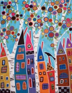 karla gerard | karla gerard art: Seven Houses Three Trees And A Bird - 7 For All ...