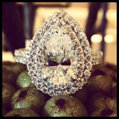 Pear shape #diamond double #halo #engagement ring.