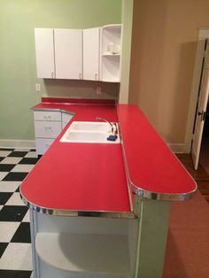 We're now — often painfully — accustomed to house flippers whose first step is to strip charming original features to create a 'blank slate' that they believe will appeal to today's potential buyers. But reader Bill, who fixes up and resells old homes in 1950s Kitchen, Red Kitchen, Kitchen Redo, Vintage Kitchen, Retro Vintage, Vintage Decor, 1950s Decor, Retro Art, House Flippers