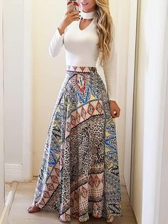 Ethnic Print High Waist Casual Skirt by laviye - 2019 Dresses, Skirt, Shirts & Classy Outfits, Chic Outfits, Dress Outfits, Fashion Dresses, Trend Fashion, Fashion Mode, Womens Fashion, Fashion Fall, Fashion Ideas