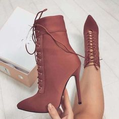 Pointed Toe Lace Up Side Zipper Short Boots Crystal Pointed Toe Ankle Wraps Cut Out Stiletto…Platform Lace Up Stiletto High Heels Short BootsLace Up High Heel Ankle Boots for Women Chunky… Dream Shoes, Crazy Shoes, Me Too Shoes, Heeled Boots, Bootie Boots, Ankle Booties, Cute Heels, Shoes Heels, Pump Shoes