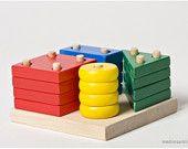Handmade wooden toy: educational wheel game. $26.00, via Etsy.