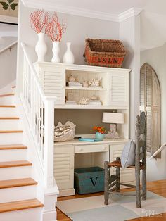 Make the most of stair landings by utilizing the extra space and creating an office nook.