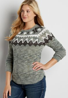 pullover sweater with fair isle pattern and metallic stitching (original price, $39.00) available at #Maurices #wishpinwinsweepstakes #discovermaurices