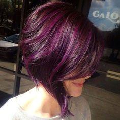 lovely aubergine colour  bob style hair cut