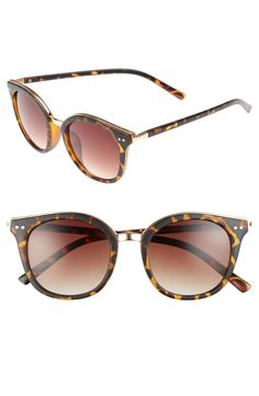 Polished metal trim highlights the universally flattering silhouette of lightweight tortoiseshell sunglasses.