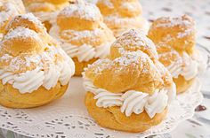 Italian Cream Puffs with 6 Filling Recipes including:  Pineapple Filling Recipe, Raspberry Filling Recipe & Vanilla Pudding Recipe -- Plus How to make a Choux Ring and Choux Swan!