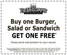 Second burger, salad or sandwich free at Bennigans coupon via The Coupons App