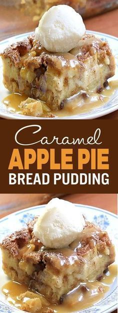 Perfect for morning, noon and night. This caramel apple bread pudding will be a hit with its festive autumn flavors […] Perfect for morning, noon and night. This caramel apple bread pudding will be a hit with its festive autumn flavors […] Köstliche Desserts, Delicious Desserts, Yummy Food, Pudding Desserts, Apple Dessert Recipes, Pudding Cake, Plated Desserts, Easy Apple Desserts, Apple Recipes Dinner