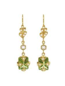 Cathy Waterman - Peridot and Black and White Diamond Leaftop Earrings