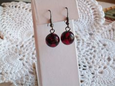 Vintage red and black bead earrings by DflyBeads on Etsy, $10.00