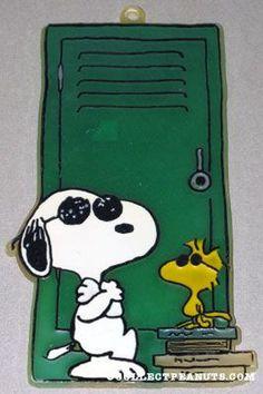 Joe Cool & Woodstock leaning on Locker Sun Catcher